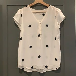 Loft blouse size xs white with black polka dots. Excellent condition.